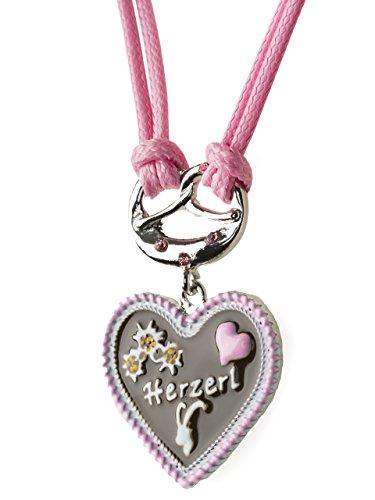 Trachtenkette Herzerl bemaltes Herz mit Edelwess Kette rot oder blau - Trachtenschmuck Dirndl Lederhose (Rosa)