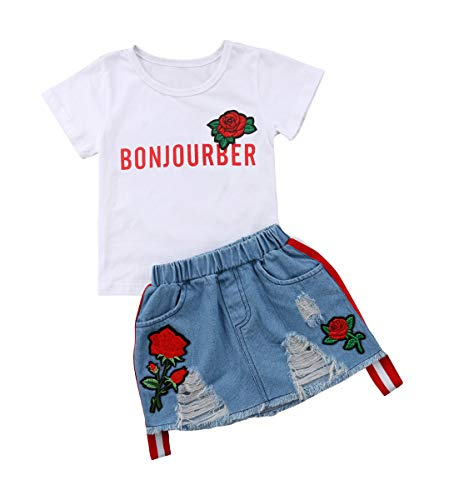 Toddler Baby Girls Smell The Rose T shirtTops + Denim Skirts Clothing Outfit Set (4-5Years, White (Bonjour))