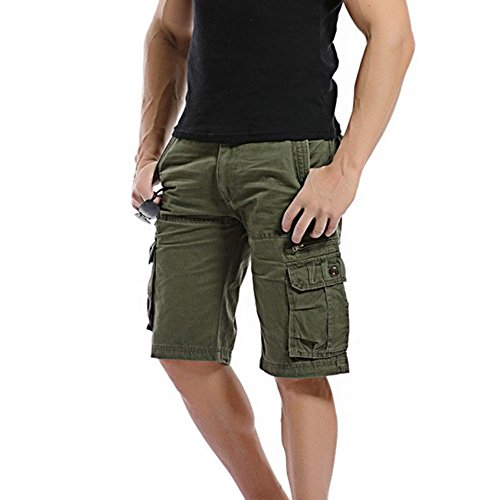 Men Outdoor Tactical Shorts Cotton Cargo Shorts Quick Dry Lightweight Expandable Waist with Multi Pockets Water Resistant (Asian Size:32, Army Green)