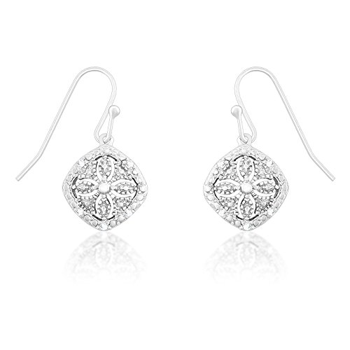 Tdw Diamond Square Earrings - Sterling Silver 1/10ct TDW Diamond Square Dangle Earrings