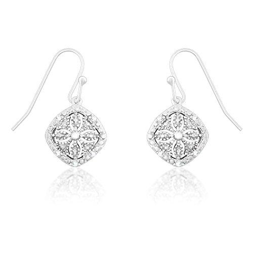 Sterling Silver 1/10ct TDW Diamond Square Dangle (Tdw Diamond Square Earrings)
