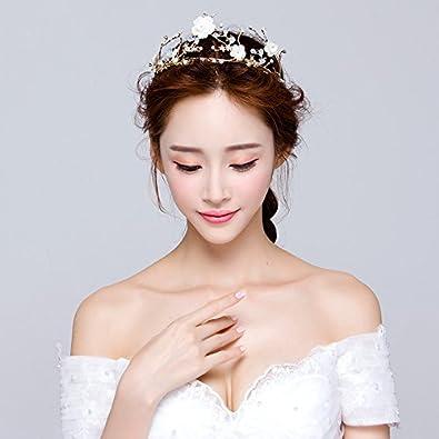Amazon.com : Generic Asian bride gold leaf gold headdress European ...