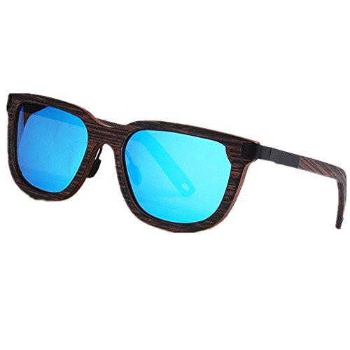 vendimia de colorida Gafas conduce sol la los la lente de Ojos madera que pesca de Protección de ULTRAVIOLETA a Retro de la de Azul de polarizadas hechos li al aire Playa gato sol Gafas TAC mano hombres de OfwqPOc1d