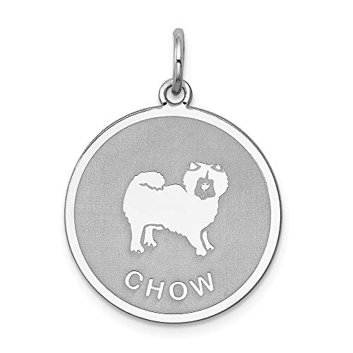 925 Sterling Silver Chow Disc Pendant Charm Necklace Animal Dog Engravable Round Fine Jewelry Gifts For Women For Her