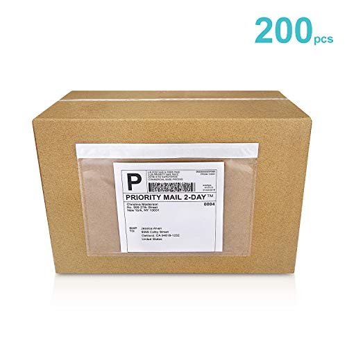 """Mionno 7.5"""" x5.5"""" Clear Strong Adhesive Invoice Enclosed Pouches, 200pcs Packing List/Shipping Label Envelopes Pouches for Mailing Shipping Business (Long Side Loading)"""