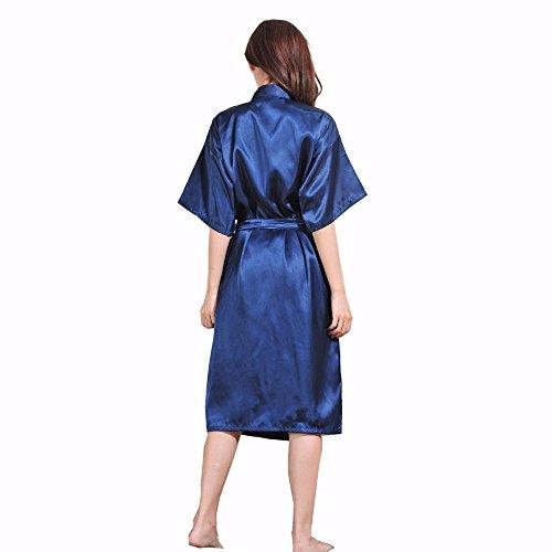 DELEY Unisex Pareja Mujeres Kimono Satén Seda Suave Dormir Peignoir Bata de Baño Albornoces Ropa de Dormir Camisones Azul