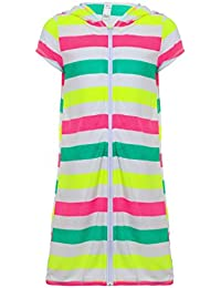 Girls Boys Short Sleeve Swim Robe Beach Cover Up with Zipper Bathrobe Colorful Stripes 7-8