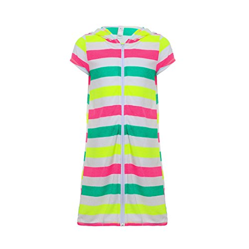 BELLOO Girls Boys Short Sleeve Swim Robe Beach Cover up with Zipper Bathrobe Colorful Stripes 10-12 by BELLOO