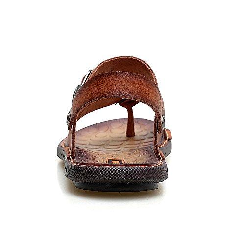 hombres planas antideslizantes Chancletas de Easy Zapatos sintética para flop ajustable ocasionales Go Shopping flip sandalias Sandalias para suaves de hombres sin piel playa espalda Marrón de Zapatillas nqpa6AYn