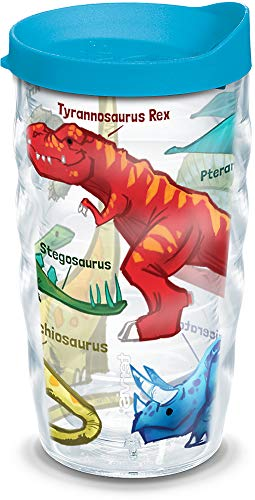 Tervis 1124625 Dinosaurs Insulated Tumbler with Wrap and Turquoise Lid, 10oz Wavy, Clear