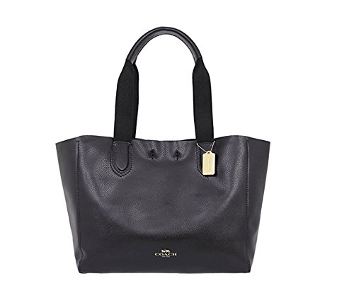 Purses Outlet (COACH LARGE DERBY TOTE IN PEBBLE LEATHER IMITATION GOLD/BLACK F59818)