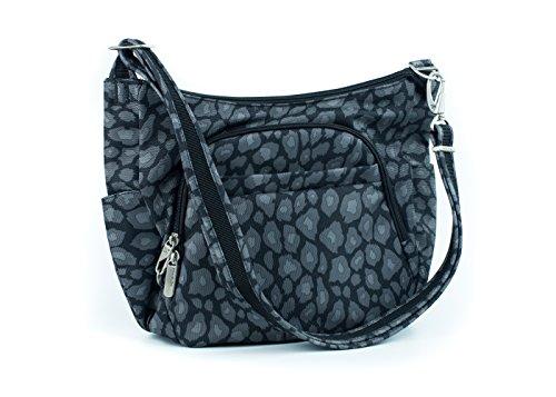 Travelon Anti-Theft Cross-Body Bucket Bag, Grey Leopard