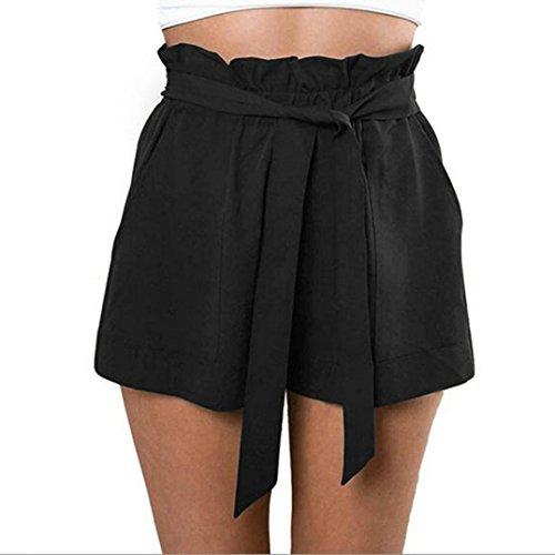WILLTOO 2016 Women High Waist Shorts Female With Belt (M, Black)