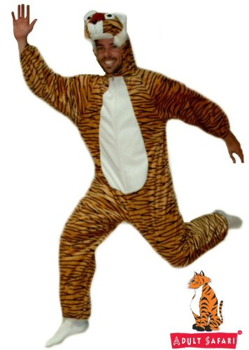 Safari Plush Costume Tiger - One Size Fits All (Tiger Costume Adults)