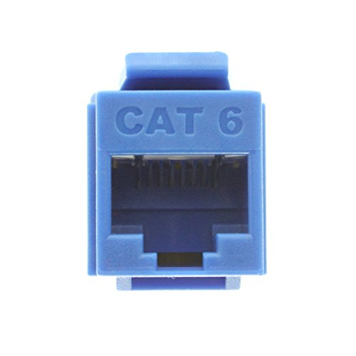 Connect Cat5e Plate Wall Quick - Legrand - On-Q WP3476BE Cat6 RJ45 Quick Connect Keystone Insert with 110 Punch-Down, Blue