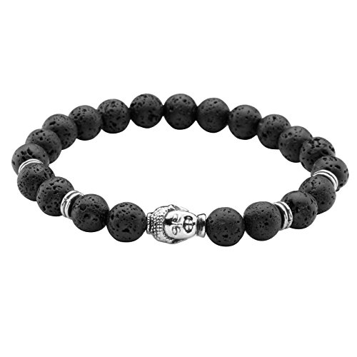 Beaded Stretch Plated Silver Bracelet (MILAKOO Lava Rock Bracelet with Silver Plated Buddha for Men & Women 8mm Beaded Elastic Bracelet)