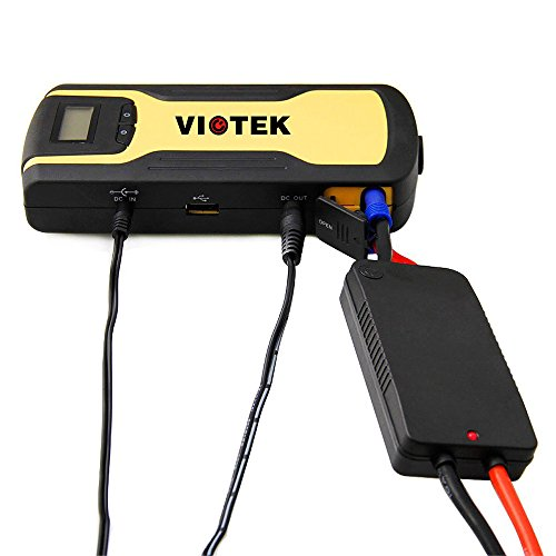 Compact Jumper Cables : Viotek emergency car battery charger with jumper cables