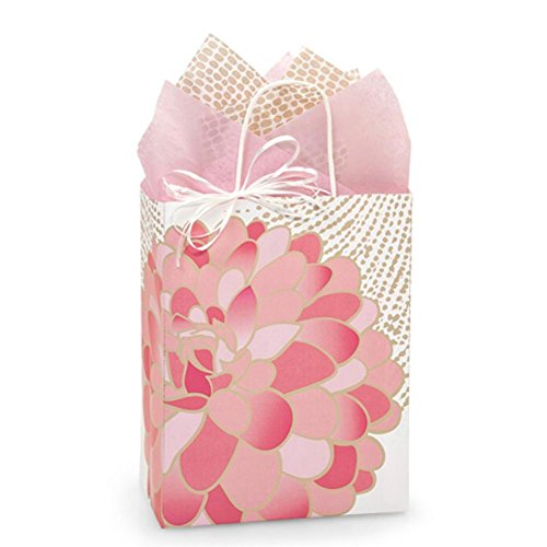 Gilded Blooms Paper Shopping Bags - Cub Size - 8 1/4 x 4 3/4 x 10 1/2in. - 150 pack by NW