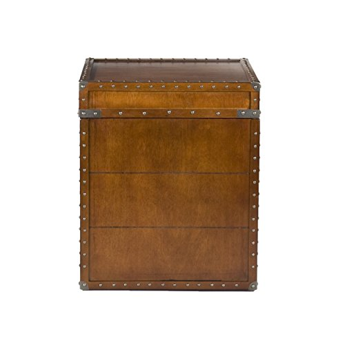 Southern Enterprises Steamer Trunk End Table - Rustic Nailhead Trim - Refinded Industrial Style (Trunk Square Side Table)
