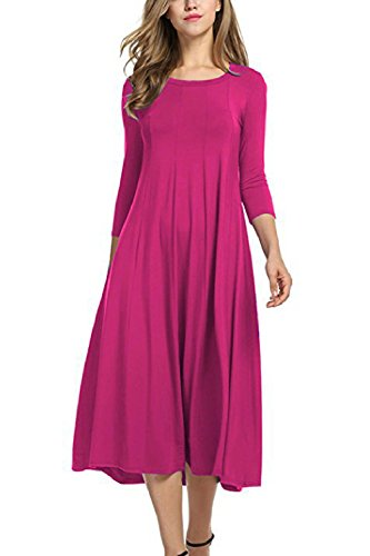 Rose De Mujer Tunic Media Plus Swing Size Verano Zojuyozio Vestido Manga Casual Dress p7aSqFnq