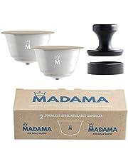 Madama - Hervulbare Dolce Gusto Koffiecapsule, herbruikbaar en compatibel. Roestvrij staal en siliconen (geschikt voor etenswaren). 100% Gemaakt in Italië. Pakket van 2 capsules.