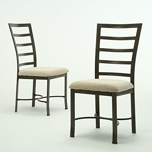 UHOM 2Pcs Metal Frame Dining Chairs Upholstered High Back Chair Fabric Cushioned Seats (Veneer Chair Seat)