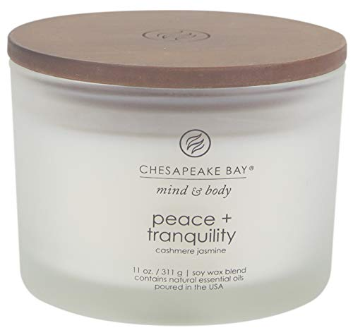 3 Jar Candle Wick (Chesapeake Bay Candle Mind & Body Coffee Table Scented Candle, Peace + Tranquility (Cashmere Jasmine))