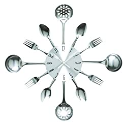 Wall Clock, Timelike 16 Metal Kitchen Cutlery Utensil Spoon Fork Wall Clock Creative Modern Home Decor Antique Style Wall Watch (Silver)