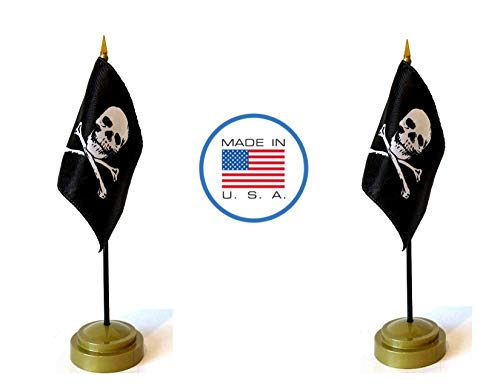 (Made in The USA Flag Set. 2 Jolly Roger Rayon 4