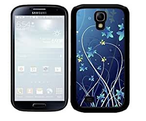 Royal Blue Floral and Butterfly Design (Samsung Galaxy S4 I9500) 2-piece Dual Layer High Impact Black Silicone Cover Case