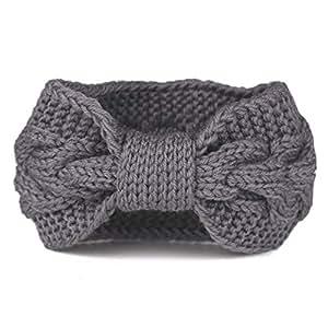 Flammi Women's Cable Knit Headband Bowknot Head Wrap Ear Warmer (Grey)