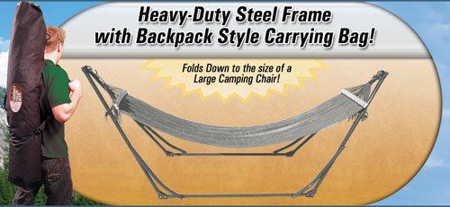 High-Grade Foldable Hammock (Silver) Folding Hammock with Carrying Bag, Outdoor Stuffs