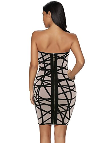 Women's Bandage Bodycon Graphic Strapless Nude Dress Meilun vqdwSxAnTv
