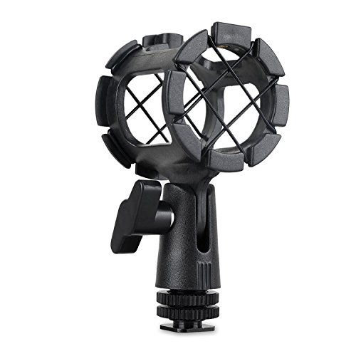 Eggsnow Microphone Shock Mount Clip Universal Mic Holder Stand + Hot Shoe Adapter Anti Vibration for AKG D230/ Senheisser ME66 /Rode NTG-2 /NTG-1/ Audio-Technica AT-875R