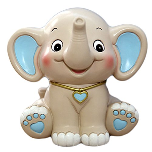 CHOOLD Cute Cartoon Elephant Piggy Bank Coin Bank Saving Pot Money Box For Kids Birthday Gift Nursery Decor(blue)