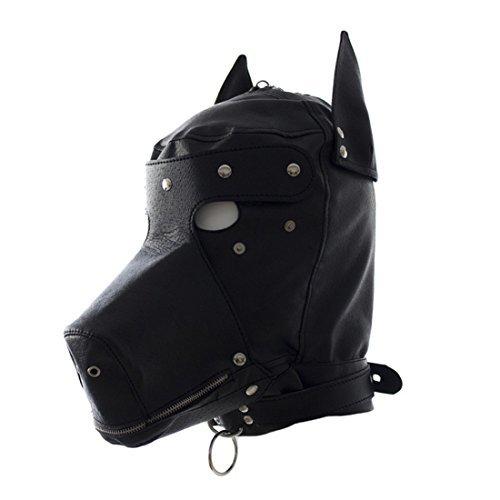 [YiFeng Costume Party Leather Gimp Dog Puppy Hood Full Mask Bondage Fetish Halloween by YiFeng] (The Gimp Costume)