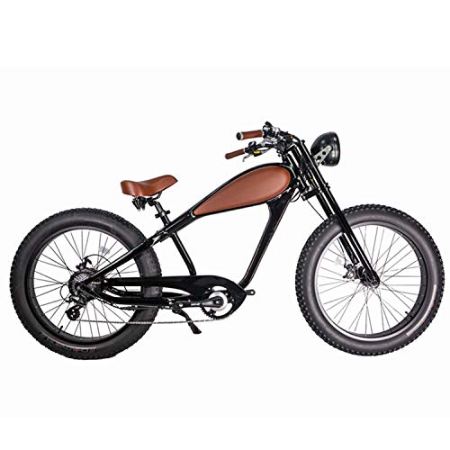 CIVI BIKES Vintage Electric Bike Fat Tire Sport Bicycle 750W café Racer 7-Speed Gear 48V 13AH Battery with Max Speed to 28 MPH - Night Black