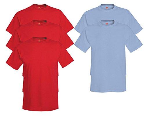 Hanes Comfort Soft Crew-Neck T-Shirt (Pack of 5), 3 Deep Red/2 Light Blue, 2XL