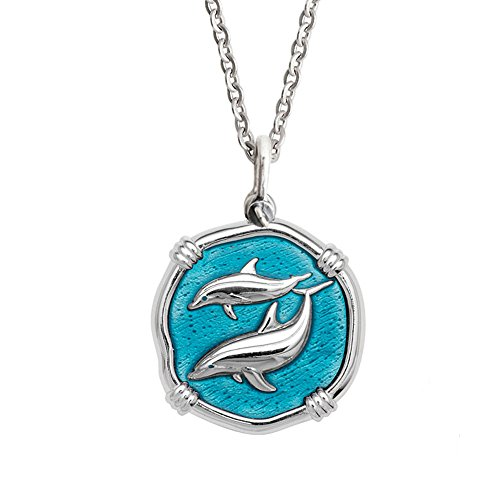 Guy Harvey Enamel Dolphin Pendant Crafted in Sterling Silver on 18