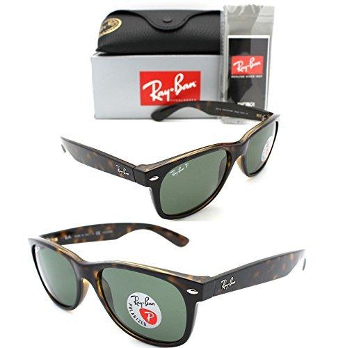 New-Authentic-Ray-Ban-New-Wayfarer-RB-2132-90258-52mm-Tortoise-W-Green-Polarized