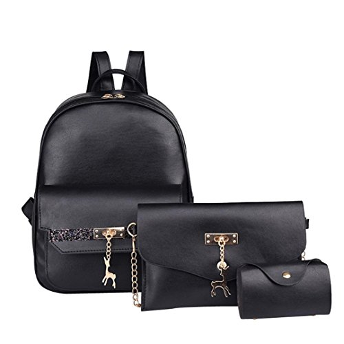 Buckle Large Hobo ( Mysky Women Bags,3PC Women Deer Pure Leather Backpack Clutch Card Holder Messenger Bag (Black))