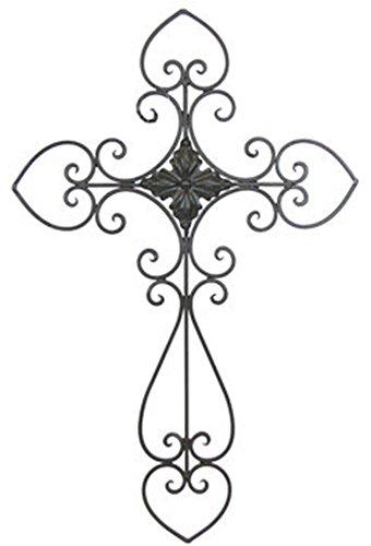 Large Elegant Metal Ornate Heart Cross Home Wall Decor 24