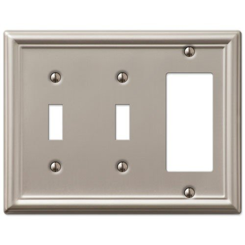 Decorative Wall Switch Outlet Cover Plates (Brushed Nickel, 2 Toggle 1 Rocker)