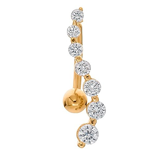 14k Yg Dangle - Sexy Serpentine 14K Yellow Gold Reverse Dangle Belly Ring