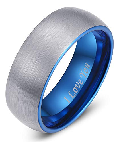 LaurieCinya Blue Tungsten Carbide Ring Men Women Wedding Band 8mm Domed Brushed Finish Comfort Fit 'I Love You'