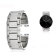 GOOQ® Stainless Steel Without Push-button 22mm Bracelet Wrist Watch Band Strap for Motorola Moto 360 Smart Watch Collection, Adjustable Length 18.5cm(7.3 inches) According to the Circumstance of Individual Wrist (Silver)