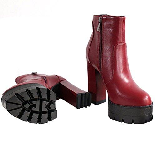 ENMAYER PU Material Punta Redonda Tacón Cuadrado Plataforma Cremallera Zapatos Sólidos para Mujeres Botas de Moda Vino rosso con pieles