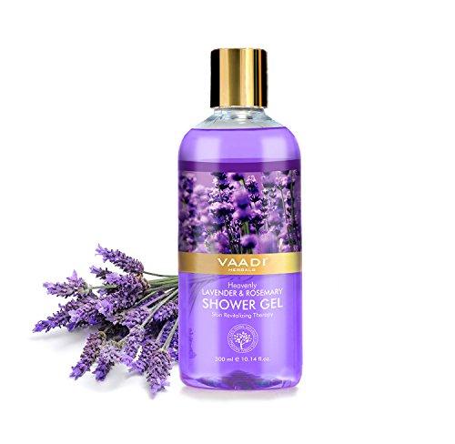 Shower Gel - Sulfate-Free - Herbal Body Wash both for Men and Women - 300 ml (10.14 fl oz) - Vaadi Herbals (Heavenly Lavender & Rosemary) (1 Bottle)