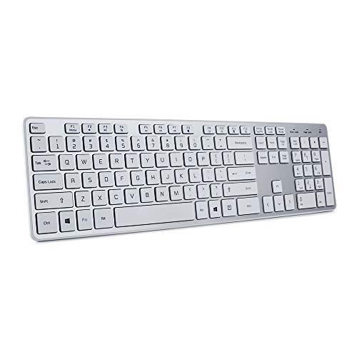 BFRIENDit Wireless Keyboard Ultra - Quiet Chocolate Keys 2.4GHz Connection Slim Wireless Computer Keyboard for Windows 10/8/7/Vista, Microsoft & PC, Smart TV, RF1430K - Silver -