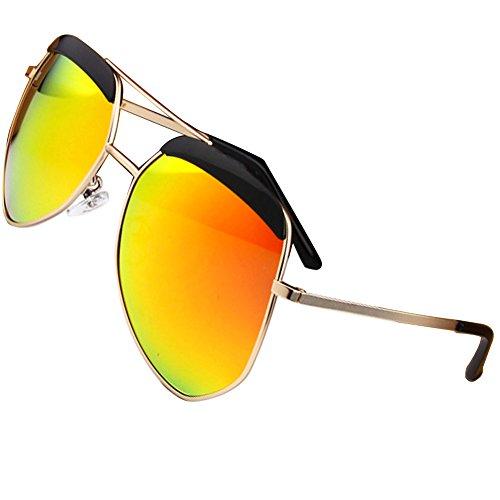 Sumery Unisex Metal Fashion Big Frame Polarized Sunglasses Women Men UV400 (Gold, Orange)